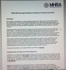 MHRA data integrity