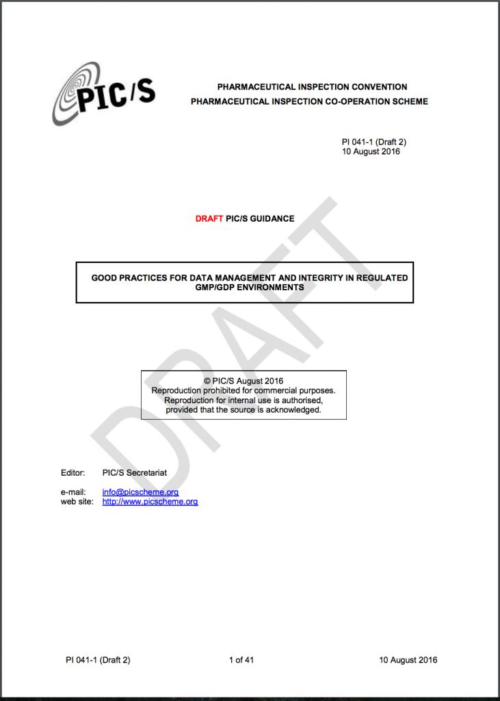 PIC/S GMPドラフトデータマネジメントとインテグリティ
